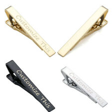 Laser Engraved Mens Necktie Tie Clip Clasp Breastpin Wedding Personalised Gift