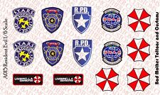 Custom Resident Evil 1/6 scale - Waterslide Decals - Opaque on clear backing
