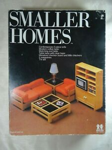 Vintage NEW In Box TOMY Smaller Homes No. 2400 Living Room Set with TV Checkers