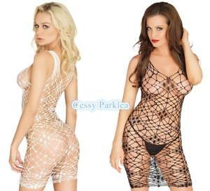 Black White See-Through Fishnet Dress Body-Stockings Camisole G-string Set