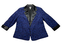 Chicos Open Front Blazer Jacket, Blue Lace Over Black, 3/4 sleeve, Lined, Sz 2/L