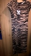 Boohoo brown tiger print midi dress size 8 BNWT