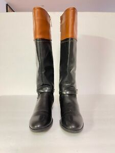 Tommy Hilfiger Women Black Brown Leather Knee High Riding Boots Sz 8M