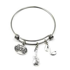 Music Bracelet Music Teacher Charm Bangle Stainless Steel Expandable Wire