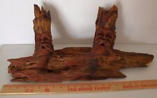 "Large Ponderosa Pine Double Carved Knothead by Rocky Milburn (24"" Wide,12"" Tall)"