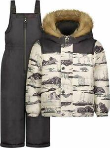 Osh Kosh B'gosh Gray Dino Print Boys 2pc Snowsuit Size 2T 3T 4T 4 5/6 7