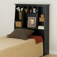 Slant-Back Tall Twin Bookcase Headboard Wood black bookcase in Black Finish