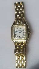 CARTIER PANTHERE 18K SOLID YELLOW GOLD DIAMONDS LADIES DRESS WATCH NO RESERVE