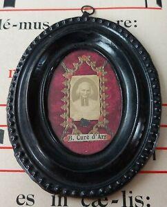 361) Frame reliquary important relic of St John Vianney Parish prayer of Ars