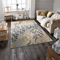 JASMINE 33 W GREY OCHRE HIGH SHINE GLOSSY PILE LUXURY RUG IN VARIOUS SIZES