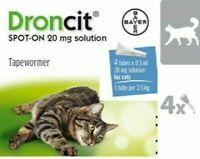 DRONCIT Vermifuge SPOT-ON pour chats (2.5 à 5Kg) Boite 4 Pipettes de 0,5 ml