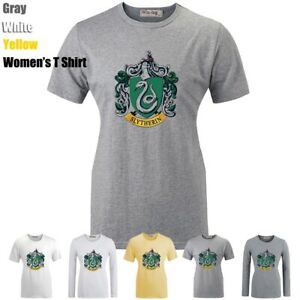 Harry Potter Slytherin College snake Print T-Shirt Womens Girls Graphic Tee Tops