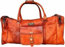 Leather travel duffle weekend bag lightweight luggage Retro Men's Original GVB