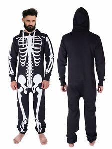 Mens Unisex Halloween Costume Skeleton 1ONESIE All in One Jumpsuit S,M,L,XL ,2XL