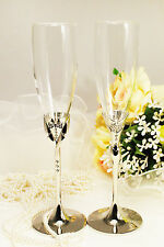Personalized Wedding Toasting Flutes Champagne Glasses Sets Bride&Groom Pair