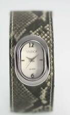 Studio White Womens Stainless Silver Gray Print Leather Quartz Battery Watch