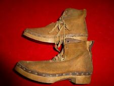 WONDERFUL FIND - PAIR OF CIVIL WAR ERA WOODEN SOLE SHOES / BRASS TACKS LEATHER