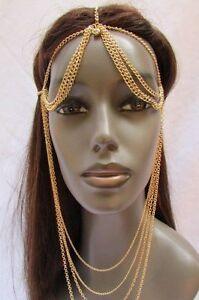 New Women Silver Gold Fashion Head Chain Jewelry Long Front Back Drape Beads