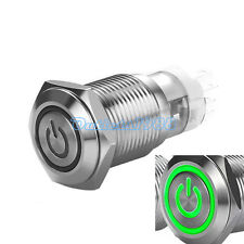 16mm 12V Green LED Latching Push Button Switch 1NO1NC ON/OFF Stainless Steel