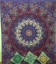 Indian Double Elephant Cotton Bedspread Mandala Bedding Tapestry Wall Hanging