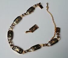 Conjunto Pendientes-Pulsera cadena Damasquinado - - Pulsera Brazalete Mujer Oro Colgante Joyería