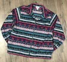 Alfred Dunner Womens Fleece Jacket Size Small S Zipper Front Aztec Floral Long