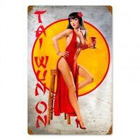 Bettie Page Mermaid Pin Up Girl Tiki Bar Metal Sign Man Cave Garage Shop Club