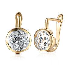 Romantic Women 18K Gold Jewelry Hollow Flower Zircon Buckle Hoop Huggie Earrings