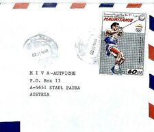 CM100 Mauritania Cover 1990 OLYMPICS ISSUE 60m HAMMER Missionary Air Mail MIVA