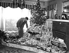 1935 Massive Model train layout under Christmas tree 8 x 10 Photograph