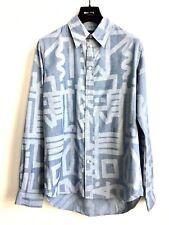PAUL SMITH Herren NEU Hemd M Langarmhemd Blau Muster Freizeit Shirt UVP €143