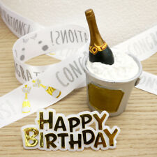 Champagne Cake Topper, Happy Birthday Motto And Ribbon Cake Decoration Set