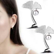 Simulated Pearl Ginkgo Leaves Stud Earrings Ear Stud Pretty Fashion Jewelry Gift