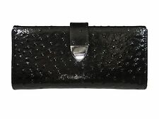BLACK PATENT LEATHER OSTRICH & GENUINE LEATHER WALLET, Multiple Compartments
