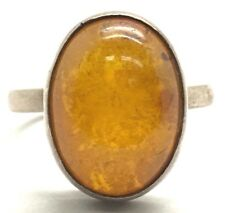 Vintage Oxidized Sterling Silver 925 Cabochon Baltic Amber Fossils Cocktail Ring