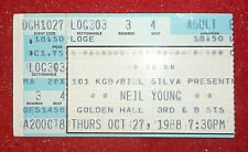 NEIL YOUNG CONCERT TICKET Stub 1988 San Diego CA Golden Hall 10/27/88