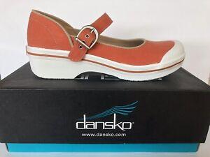 Dansko Valerie Orange Canvas Mary Jane Shoes Clogs Womens Size 40 9.5 - 10 Vegan
