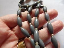 EXTRA LONG 2 TONE GREY RICE & SEED BEAD SPACER PLASTIC BEAD NECKLACE