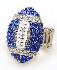 COWBOYS Dallas Silver & Blue Rhinestone Women Girls Football Fashion Bling Ring