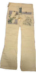 DA NANG yellow Embroidered Cargo Bootcut Utility Low Rise NWT Pants Military XS