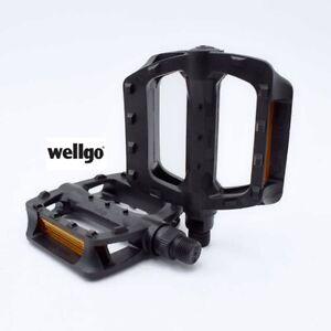 Wellgo Fahrradpedalen Plattform-Pedale Pedalen universal Schwarz
