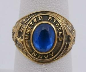 10K yellow gold sz 6.25 UNITED STATES NAVY class ring blue spinel 6.1g
