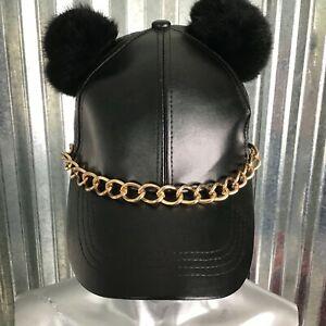 Jennifer & Company Baseball Cap Double Pom Pom Faux Leather Black Snap Back