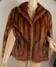 deep mahogany Retro Mink Sable Fur Shrug Chubby Boho Strollr Jacket Coat