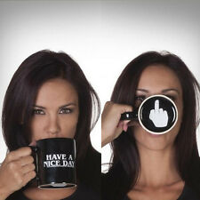 Personality Ceramic Coffee Gift Cup Funny Middle Finger Mug Have A Nice Day