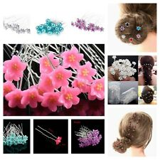20/40 Pcs Wedding Bridal Crystal Flower HairPin Hair Clip Bling Bridesmaid Prom
