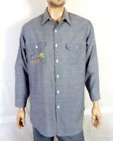 vtg 60s 70s JC Penney Big Mac Chambray Denim Shirt Embroidered Farm Scene sz XL