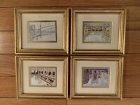 SET OF 4 Wood Framed Famous Places Prints vintage Matted Glass 7.1x6.2 Inches
