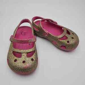 CROCS shayna hi glitter Mary janes pink gold baby child 7