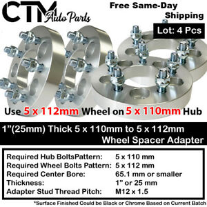 "4PC 1"" THICK 5x110 TO 5x112 WHEEL ADAPTER SPACER FIT CHEVY/SATURN/PONTIAC/MORE"